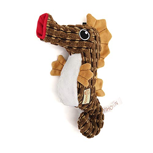 AXEN Ocean Series Dog Toys, Seahorse Shape, Cute and Squeaky for Aggressive Chewers, Brown Seahorse