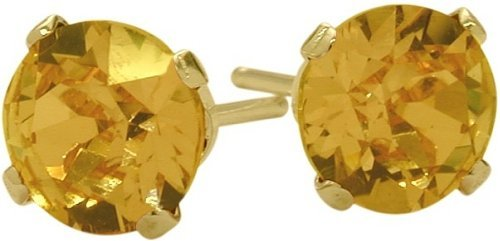 Genuine 4mm Round Citrine 14 Karat Yellow Gold Stud Earrings for Girls 0.80Ct