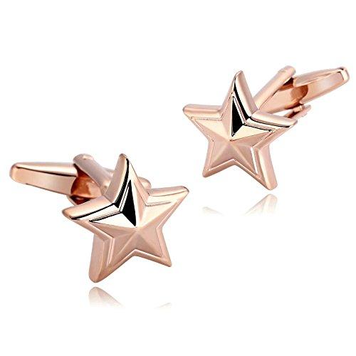 Aooaz Cufflink for Men Stainless Steel Rose Gold Starfish Star Fish Seas Beach Shirt 1.8X1.7CM Rose Gold