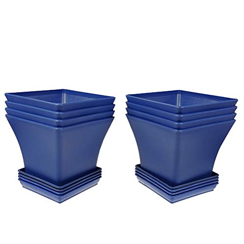 MUZHI Nice Blue Square Garden Flower Bonsai Tree Pots with Tray for Home Bonsai Plants Planting Mediterranean Style Maceta Cuadrada,Succulent Cactus Square Containers Pots FP041-L and Tray