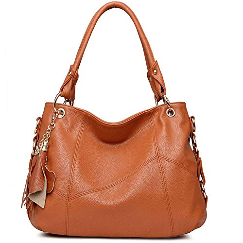 BAISHILIN Genuine Leather Top Handle Satchel Handbag Tote Tassel Shoulder Bag Purse Crossbody Bag for Women(Brown)