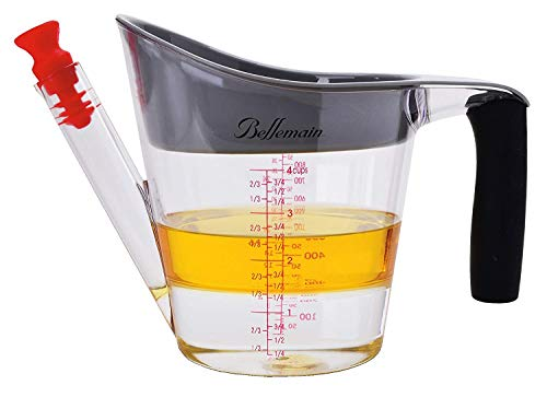 Bellemain 4-Cup Fat Separator/Measuring Cup with Strainer & Fat Stopper / 1 Liter Capacity (1 4 Cup Vegetable Oil To Butter)