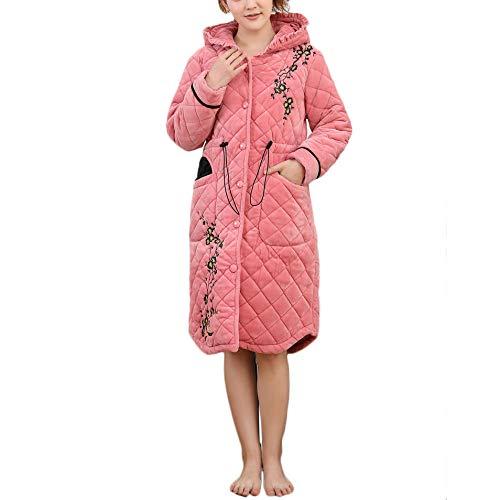 Larga Albornoz Bata Dormir Pink Cálido Cómodo Con Mujer De Ropa Invierno Capucha Suave Para Flor Camisón Casa Cardigan wpaxHPB
