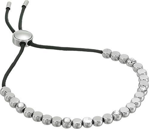 (Fossil Vintage Glitz Beaded Silver Bangle Bracelet)