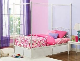Amazon Com Kids Twin Bed Frame Canopy For Girls Metal White