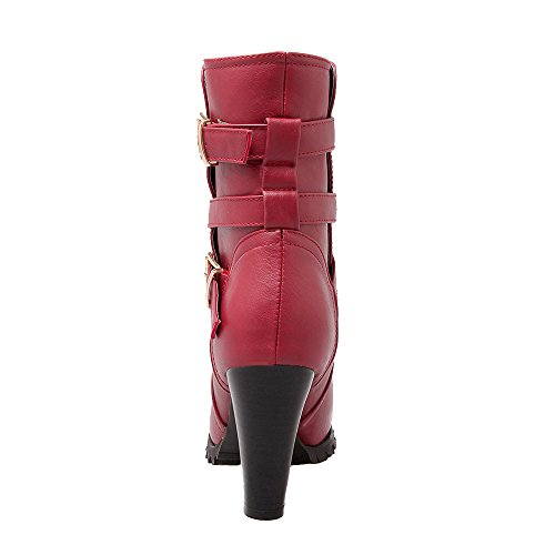 AIYOUMEI Damen Herbst Winter Blockabsatz High Heels Stiefeletten mit Schnalle Rot