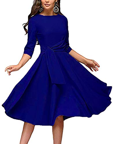 Women's Elegance Audrey Hepburn Style Ruched Dresses Round Neck 3/4 Short Sleeve Pleated Swing Midi A-line Dress with Pockets(Blue, X-Large)