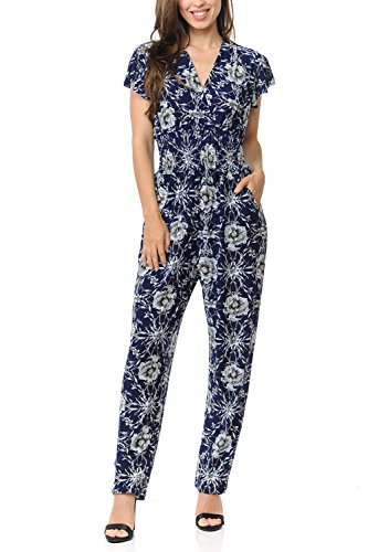 Auliné Collection Womens Short Cap Sleeve V-Neck Long Pants Romper Jumpsuit - Peony Bloom Floral L/XL (Wrap Jumpsuit)