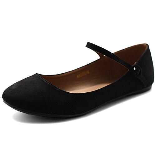 Ollio Women's Shoe Ballet Light Faux Suede Mary Jane Flats MG16(9 B(M) US, Black)
