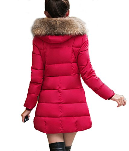 Manteau longue Veste Blouson Capuche Hiver Uni Rouge Fourrure Femme artificiel Parka MILEEO w148Ex