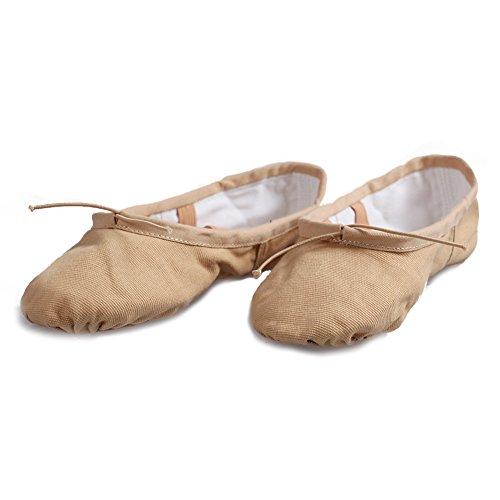 ... Turn Yoga Lerret Skinn Ballett Dans Sko Barnas Og Voksne Størrelser  Beige ...