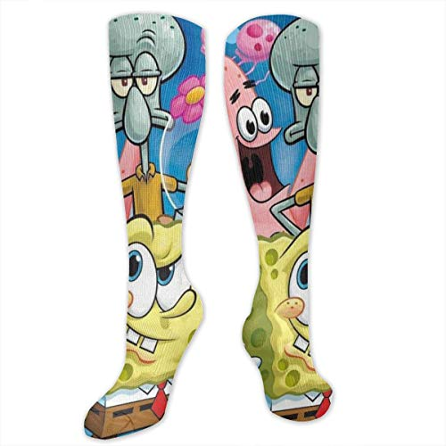 ZTKJ Spongebob Patrick and Friends Cool Sock Knee Long High Socks 30-40 mmHg Long Socks for Unisex