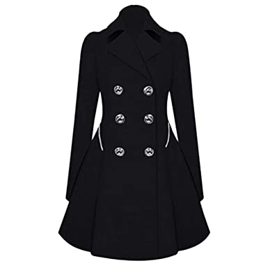 2d1c77d78d Womens Lapel Double Breasted Trench Parka Coat Plus Size Winter  Clearance,Warm Long Slim Outwear