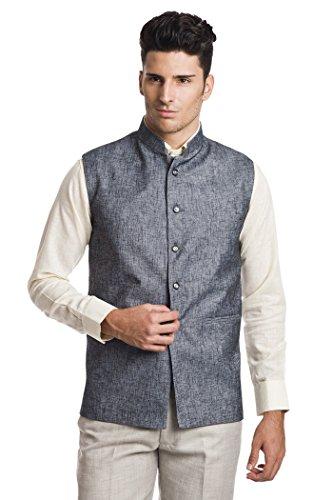 - Wintage Men's Linen Blend Bandhgala Festive Grey Nehru Jacket Waistcoat,Dark Grey,40 US / Medium
