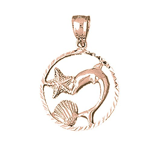 Rose Gold-plated 925 Silver 32mm Dolphins Jumping Through Hoop Pendant Necklace Dolphin Through Hoop