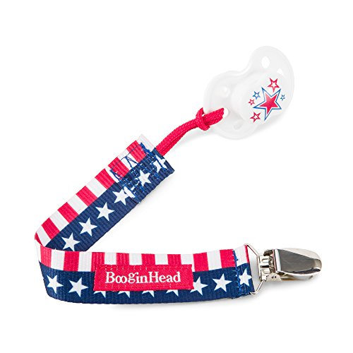 orn PaciGrip Pacifier Clip, Holder, Toy, Teether, Soothie, Universal Loop Girl, Boy, Flag, Red White and Blue, Patriotic, USA ()