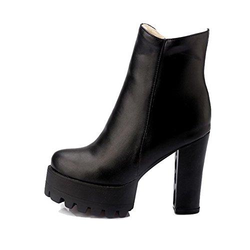 Allhqfashion Women's Soft Material Zipper Closed Round Toe High-Heels Low-top Boots Black ahvc2
