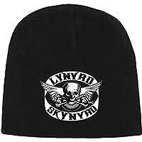 Lynyrd Skynyrd Skull Crossbones Logo Print Black Knit Beanie Skull Cap Sports Hat