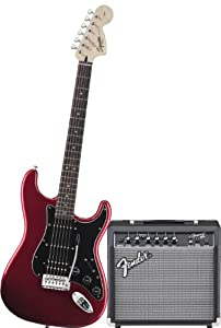 Squier by Fender Strat HSS Electric Guitar Pack w/ Frontman 15G, Candy Apple Red