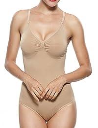 Khaya Women's Shapewear V Neck Adjustable Strap Body Briefer Bodysuits