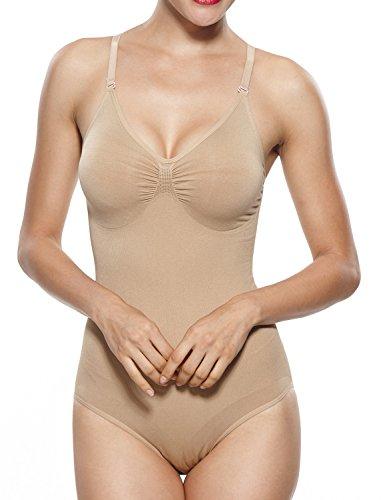 (KHAYA Women's Molded Cup Shapewear One-Piece Seamless Bodysuits X-Large Beige)