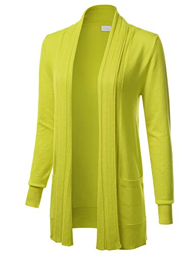 - Women's Long Sleeve Open Front Drape Ribbed Cardigan with Pockets Lime S