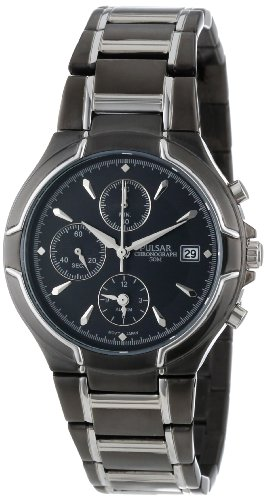 Pulsar Men's PF3547 Alarm Chronograph Black Ion Plated Stainless Steel Watch