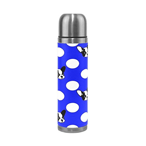 GoldenDesign French Bulldog Polka Dot Stainless Steel Water Bottle Vacuum Insulated Thermos Flask 17 Oz Genuine Leather Wrapped Cover (Flask Leather Gsi)