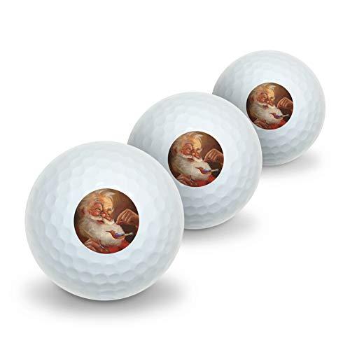 - GRAPHICS & MORE Christmas Holiday Santa Painting Tree Ornament Novelty Golf Balls 3 Pack