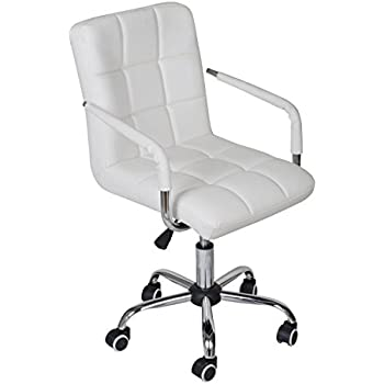 tms white modern office executive synthetic leather swivel arms chair computer desk task - Modern Desk Chair