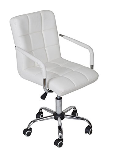 TMS White Modern Office Executive Synthetic Leather Swivel A