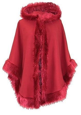 Poncho da donna in lana stile pelliccia, con cappuccio, taglia unica (dalla 42 alla 50) taglia unica (dalla 42 alla 50) Black One Taglia