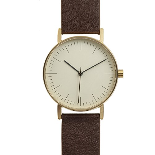 BIJOUONE B001 Minimalist Brown Leather Stainless Steel Swiss Quartz Unisex Watch, Gold Tone