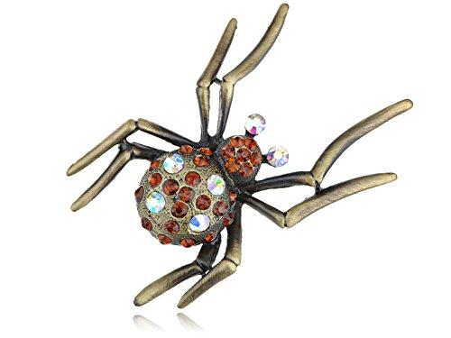 Alilang Austrian Topaz Crystal Rhinestone Spider Fashion Pin Brooch