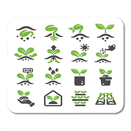 Emvency Mouse Pads Green Seed Sprout Plant Grow Seedling Tree Earth Sign Mouse pad 9.5