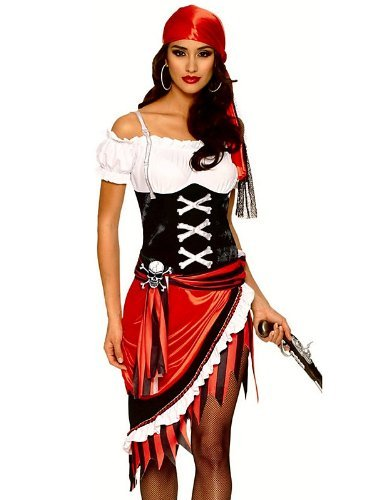 Sexy Pirate Wench Halloween Costume - Pirate Vixen Multicolored Large (Wench Shoes)