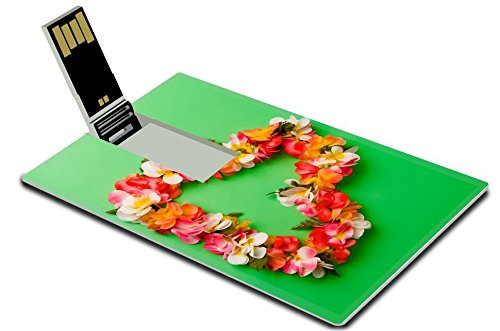 The Flash Costume Concept Art (Luxlady 32GB USB Flash Drive 2.0 Memory Stick Credit Card Size Heart shaped Hawaiian flower string over green background IMAGE 39435902)