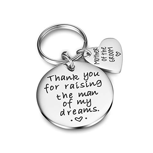 CJ&M Wedding Gift Keyring - Mother of The Groom Keyring - Thank You for Raising The Man of My Dreams, Mother of The Groom Gift]()