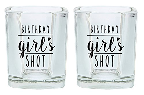 (Birthday Shot Glass for Women Birthday Girl 21st 30th 40th Birthday Gift Shot Glasses 2-Pack Square Shot Glass Set Black)