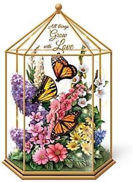 The Bradford Exchange Cenador de jardín de Cristal Iluminado con diseño de Mariposas y Flores, con iluminación, Cristal y sentimiento, Todas Las Cosas Crecen con Amor: Amazon.es: Hogar