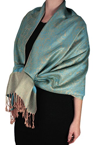 Peach Couture Elegant Vintage Two Color Jacquard Paisley Pashmina Shawl Wrap Turquoise and - Jacquard Wrap