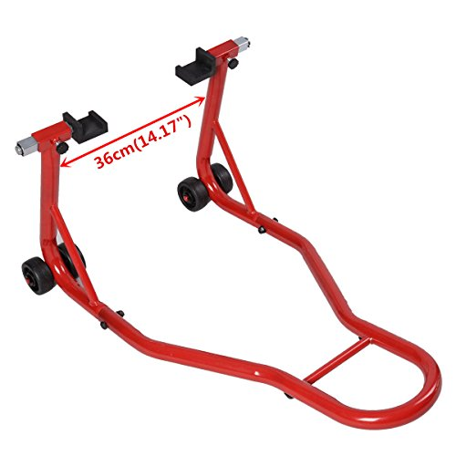 Safstar Motorcycle Stand Sport Bike Rear Forklift Rear Spoolift Paddock Swingarm Lift for Auto Bike Shop, Red