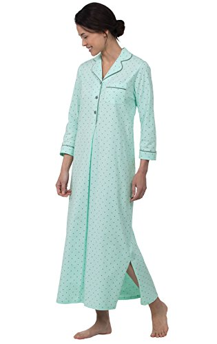 - PajamaGram Women's Soft Cotton Pin Dot Nightgown, Mint, Small (4-6)