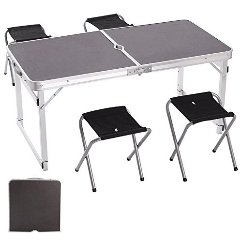 Camp Solutions Portable Folding Table Sturdy And Lightweight Aluminum Legs with 4 Folding Chairs, 3 Adjustable Heights feet, for Indoor/Outdoor Use, Camping Picnic, Party Dining, Black For Sale