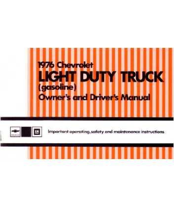 1976 CHEVROLET LIGHT DUTY TRUCK Owners Manual Guide