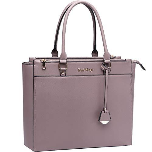 Laptop Bag for Women 15 15.6 Inch Work Tote Bag Office Handbag Business Briefcase Multi Pockets Laptop Shoulder Bag with Exquisite Pendant Decor for Work School Travel (Multi Pocket Briefcase Womens)