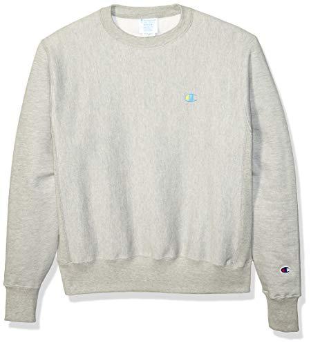 Champion LIFE Men's Reverse Weave Sweatshirt, Oversized Champion Script/Oxford Gray, - Champion Sweatshirt Oxford