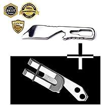 MeanHoo Mini Multifunctional Pocket Tool Pry Bar Screwdriver Bottle Opener & Keychain Clip - Stainless Steel Multi Purpose Tool Belt Key Chain Money Clip Bottle Opener Sets