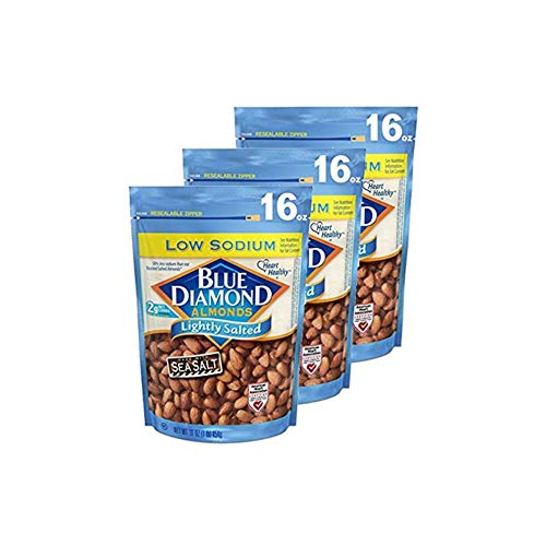 (Blue Diamond, Lightly Salted Low Sodium Almonds, 16oz Bag (Pack of 3))