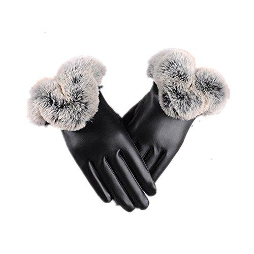 YOOKOONレディース 手袋 革 保温 暖かい ファー タッチパネル手袋 グローブメンズ防寒 紳士 女性用男性用 ビジネス PUレザー 自転車、スキー